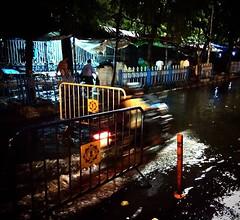 When a bike transforms into a Jet ski (samarjitsinha) Tags: ifttt 500px night speed bike ride kolkata india rain water busy street photography