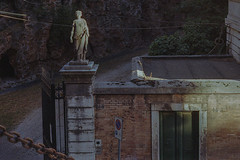Statue, wires and cable (ADMurr) Tags: italy rome roma courtyard driveway statue evening leica m6 kodak 400 50mm summicron dab3812