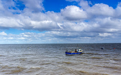 Fishing boat, Meols (Philip Brookes) Tags: boat meols wirral uk england sea bay water fishing clouds waves britain
