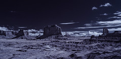 Monuments And Towers in Monument Valley - Infrared (Bill Gracey 18 Million Views) Tags: infrared infraredphotography ir convertedinfraredcamera monumentvalley monuments towers arizona highcontrast sky clouds desert panorama pano