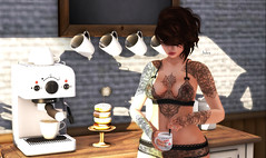 But first... coffee. (Jules Richland) Tags: home coffee sl secondlife girl woman beautiful lingerie quenby fay catwa maitreya lona whatnext tresblah donuts morning earthstones ro reveobsucura bento deaddollz adoness swallow cantwakeup noadulting amala
