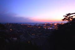 sunset at spianata castelletto (moniq84) Tags: sunset sunrise spianata castelletto lights tree skyscapes cityscapes long exposure sky blue pink red lanterna genoa liguria italy italia panoramic view city clouds port landscapes seascapes