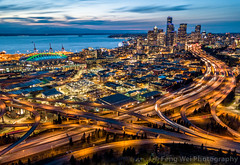 Aerial View of Downtown Seattle Cityscape At Night (Feng Wei Photography) Tags: view night usa color highangleview city outdoor aerial seattle dusk vista colorful scenery beautiful travel washingtonstate scenic highway urban tourism cityscape horizontal washington unitedstates us