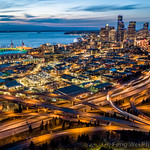 Aerial View of Downtown Seattle Cityscape At Night thumbnail