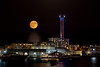 Full moon in hotel W (bienve958) Tags: hotelw miramar monjuic bcn fullmoon lunallena landscape cityscape paisaje lights nicht nocturna portvell