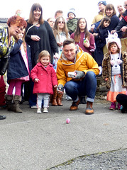 Molly's roll... egg-citing drama! (Shamus O'Reilly) Tags: vale street easter eggrolling competition totterdown bristol hard boiled eggs novel fun colourful molly