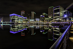 Salford Quays/Media City (gmorriswk) Tags: salford quays bbc itv holiday inn reflection reflections long exposure landscape night