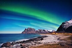 One beautiful night in the north (steinliland) Tags: auroraborealis northernlights lofotenisland beach