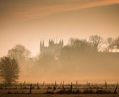 the minster (Anthony White) Tags: eastdorsetdistrict england unitedkingdom gb hff wow brilliant gorgeous composition wimborne orange mist fog fence