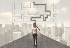 Business woman looking at road with maze and solution (aliceheiman) Tags: road maze path success business concept strategy solution clear leadership roads direction highway through vision solutions cut goals way sign tangled labyrinth puzzle straight confused lead determination confusion businessman decision right question goal complicated highways journey answers management consulting career leader guide support strategic solving thinking future problem innovation focus