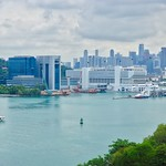 Singapore Harbourfront with empty ferry terminal and CBD in the background thumbnail