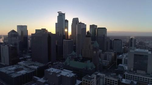 Minneapolis Cityscape at Sunset 4K