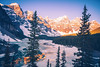 Frozen Moraine Lake in Canada (hsadura) Tags: alberta banffnationalpark canada morainelake nationalpark rockies dawn frozen lake landscape morning mountains nature outdoors rock skyline spring sunrise travel wildrness