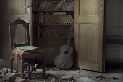 Past History (andre govia.) Tags: abandoned books decay mansion manor house chair ue andre govia photo music dust light sad creepy
