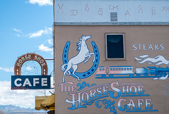 Horseshoe Cafe (Maureen Medina) Tags: maureenmedina artizenimages sign wall bricks painted neon horseshoe cafe benson az arizona