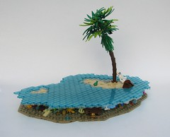 Finders Keepers... (Robert4168/Garmadon) Tags: lego pirates brethrenofthebrickseas sloop island water underwater blue trans fish skeleton treasure chest gold palm tree captainunriggednordau