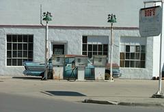 Bob's Automotive (jHc__johart) Tags: 1958buicksuper car vehicle auto automobile garage building kansas gaspumps servicestation buick pole lightpole serviceisland window door sign