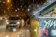 Late Night Cab in the Snow (Nick Thorne, Bodian Photography) Tags: manchester england streetscene people buildings project nightscene flickr snow streetpeople themed photographer taxi graffiti car light bynickthorne vehicle location weather bybodianphotography transport