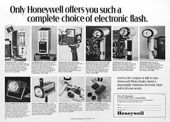 "Honeywell Strobonar electronic flashes advertisement. (Jerry Vacl) Tags: advertisement bw honeywell flash electronicflash photomagazine 1969september""popularphotography""magazine nikond7200 micronikkor40mmf28gdx strobonar"