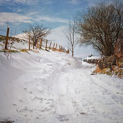 Snow Memories (Missy Jussy) Tags: snow winter countryside cold rochdale landscape lancashire beastfromtheeast unitedkingdom england newhey lane fence trees sky bluesky clouds canon canon5dmarkll canon5d canoneos5dmarkii ef50mmf18ii 50mm fixedfocallength primelens