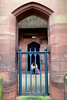 Asking for change.  Carlisle Castle, Cumbria (MJ Reilly) Tags: carlisle cumbria canon powershot s100 uk england city beggar man homeless street arch stone castle gate pavement society carlislecumbria railing