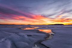 Water on ice II (Taavi Salakka) Tags: water lake ice sunset late dusk stars sun snow winter finland natureoffinland night lappeenranta saimaa canon 5d 1740mm sea ocean beach sand sky