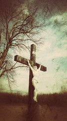 because he lives... (BillsExplorations) Tags: easter graveyard resurrection faith cross religion illinois slide sliderssunday texture snapseed inri stmarys illinoiscemetery becausehelives