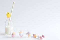 92/365: Chicken or the egg? (judi may) Tags: 365the2018edition 3652018 day92365 02apr18 april2018amonthin30pictures easter chick easterchick milkbottle straw minieggs eggs negativespace highkey whitebackground white milk canon7d 50mm