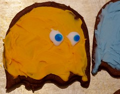 Gus's birthday cookies - Pacman theme, closeup of Clyde the ghost (Niki Gunn) Tags: pentax k5 march 2018 tamron 90mm macro tamron90mmmacro tamronspaf90mmf28 tamron90mm tamron90mmf28 pacman ghost cookies clyde