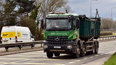 HX16 FVT (Martin's Online Photography) Tags: mercedes truck wagon lorry vehicle freight haulage commercial transport skip rolloff a580 leigh lancashire nikon nikond7200 aroc