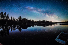 Milky Way mirrored in the Lake - and a boat waiting..... (**capture the essential**) Tags: 2017 f28 fisheye kirchsee lakekirchsee milchstrasse milkyway reflection reflections reflexion sonya7m2 sonya7mii sonya7ii sonyilce7m2 walimexpro