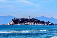 Enoshima view from the Shichirigahama beach (Dakiny) Tags: 2018 winter january japan kanagawa kamakuira shichirigaham shonan coast city street nikon d750 nikonclubit