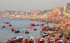 Awakening (Just Call Me Dave) Tags: boat staircase water india varanasi gangesriver sunrise river ef70200f4lusm
