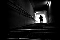 Deep underground passage. (明遊快) Tags: man bw blackandwhite light shadow silhouette contrast step walk 地下道やで