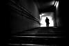 Deep underground passage. (明遊快) Tags: man bw blackandwhite light shadow silhouette contrast step walk 地下道やで