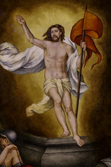 Jesus Risen (Mabry Campbell) Tags: 2018 april catholic dickinson galvestoncounty houston jesus mabrycampbell shrineofthetruecross texas usa zieglercooper art church commercial image painting photo religion