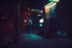 Somewhere in Osaka (Laser Kola) Tags: laserkola lasseerkola street streetphotography candid osaka exploring exploringthecity japan woman lady walking dark darkness darkphotography fujifilm x100s urban urbanphotography urbanlife urbanstyle city citylife citylights bladerunner darkcity darkstreet coolandwarm teel orange mysterious lost lostinjapan lostinosaka cinematic cyberpunk toning x100 prettywoman