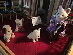 Concert in the Victorian Dollhouse (Emily1957) Tags: concert cello music musician sylvanian dolls doll toys toy victoriandollhouse miniature iphone playmobile