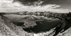 Crater Lake, Oregon (Jean-Marc Vogel Photography) Tags: crater cratere lake lac oregon etatsunis unitedstates white black sepia blackandwhite bw nb noiretblanc noir blanc blanco bero schwarz weiss