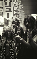 Creatures of the Night, Shibuya (Jim O'Connell) Tags: pictures people blackandwhite bw film japan darkroom tokyo mine availablelight shibuya p mmdc