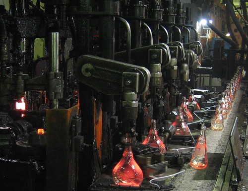 Bottles coming out of the manufacturing process