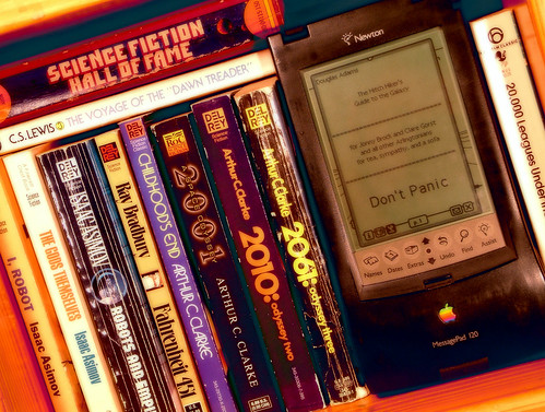 SciFi Hall Of Fame -- newton apple space books messagepad science fiction scifi bookshelf sciencefiction fame hall
