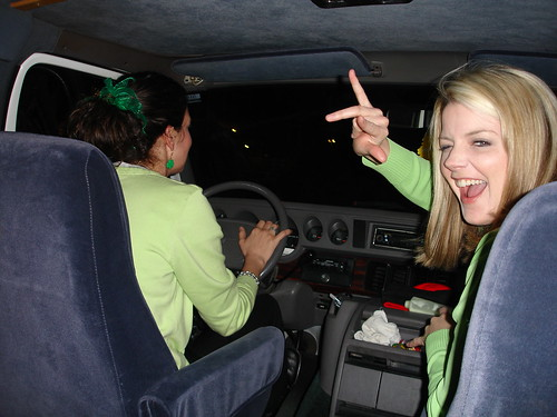 Inside The Creepy Old Man Van. Joanne and Angie get their groove on during the trip to the Deer Park Tavern. 2011