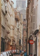 Rue Sulpice Paris 1987 (bfraz) Tags: paris france sulpice church cityscape parisian streetscene