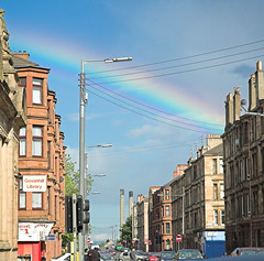 Sunshine on a rainy day (Shooz) Tags: unfound glasgow govanhill rainbow tenements sky