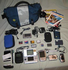 mygadgetbag (Alan Rappa) Tags: whatsinyourbag timbuk2 nintendo camera mp3 player tripod whatsinyourgamebag nintendods pocketpc flashcart whatsinmybag nomad zen pocketknife