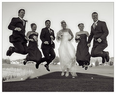 The Flying Bride (Mr Lunatic Fringe) Tags: wedding sister katie bw washington homestead chris bride groom bridesmaid bestman jump groupjump