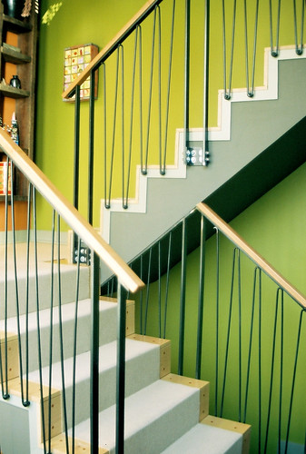 Modern Stainless Steel Oak Interior Stair Railing Chicago IL