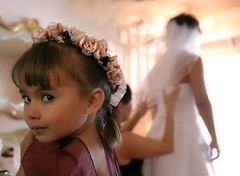 peeking (Sara Heinrichs (awfulsara)) Tags: wedding wow kid child jim glance loke port1 topf400