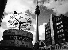 Tourist attractions in the Concrete Nightmare of Alexanderplatz, Berlin (sadmafioso) Tags: alexanderplatz berlin communism bw blackandwhite soviet